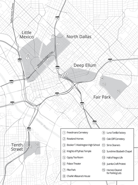 Map of Dallas neighbourhoods affected by Central Expressway construction