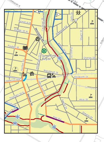 downtown inset from Guelph Cycling Map