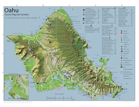 tourist map of Oahu