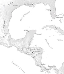 greyscale map of Central America