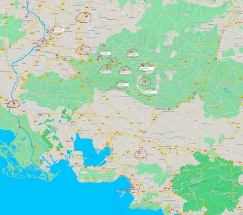 Google Map image of Provence with locations circled to add to custom map