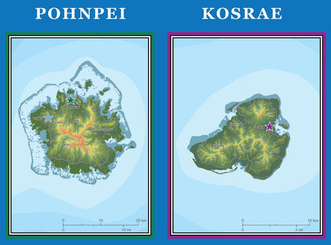 detail from map of Micronesia showing shaded relief of Pohnpei and Kosrae