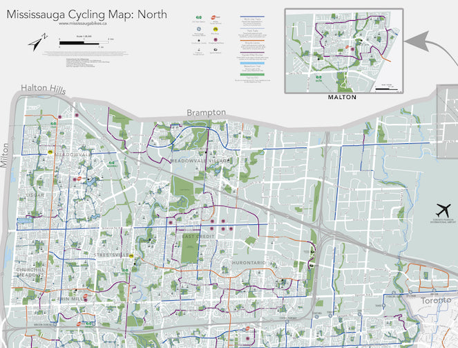 Mississauga Cycling Map North