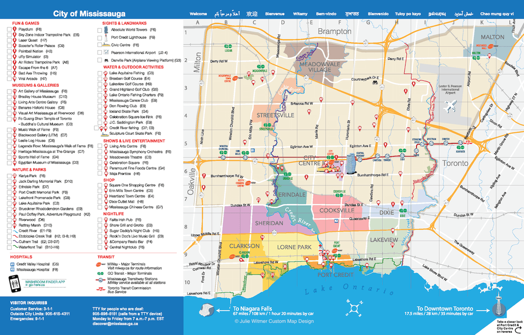 Mississauga 2019 Visitor Guide map