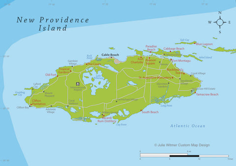 map of New Providence Islands in The Bahamas