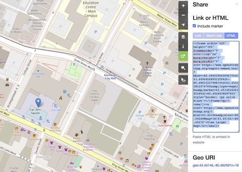 OSM with marker and embed code