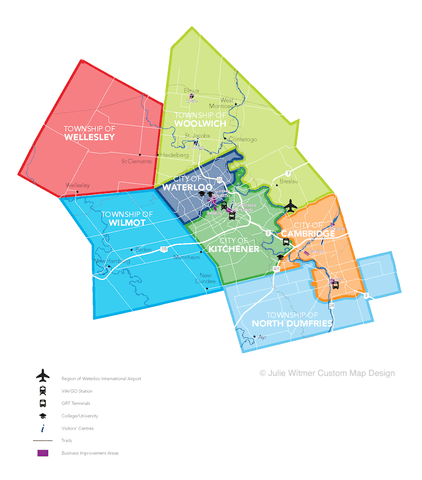 overview map of Region from Explore Waterloo Region magazine