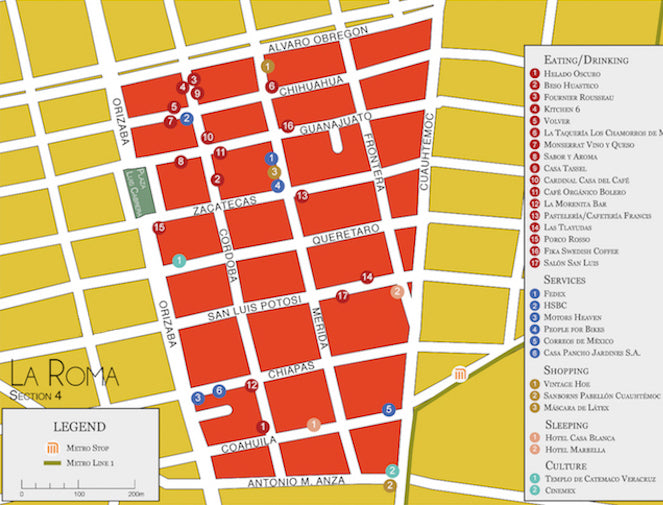 Map of La Roma neighbourhood Mexico City