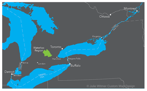 locator map of Waterloo Region in southern Ontario