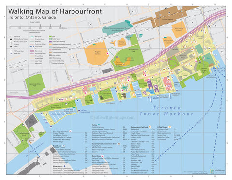 Walking map of Harbourfront in Toronto