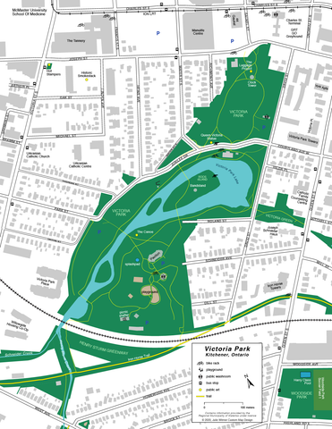 Map of Victoria Park facilities - downtown Kitchener