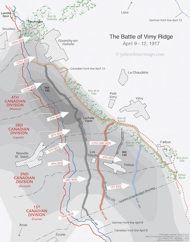 Map of Battle of Vimy Ridge for the 100th anniversary