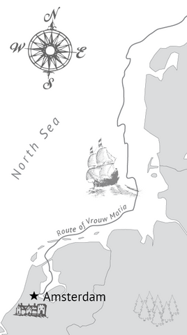 Vrouw Maria map ship and city illustration