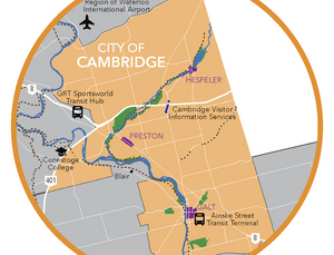 Overview map of Cambridge Ontario