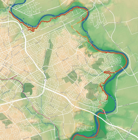 shaded relief map of part of Grand River trail in Kitchener