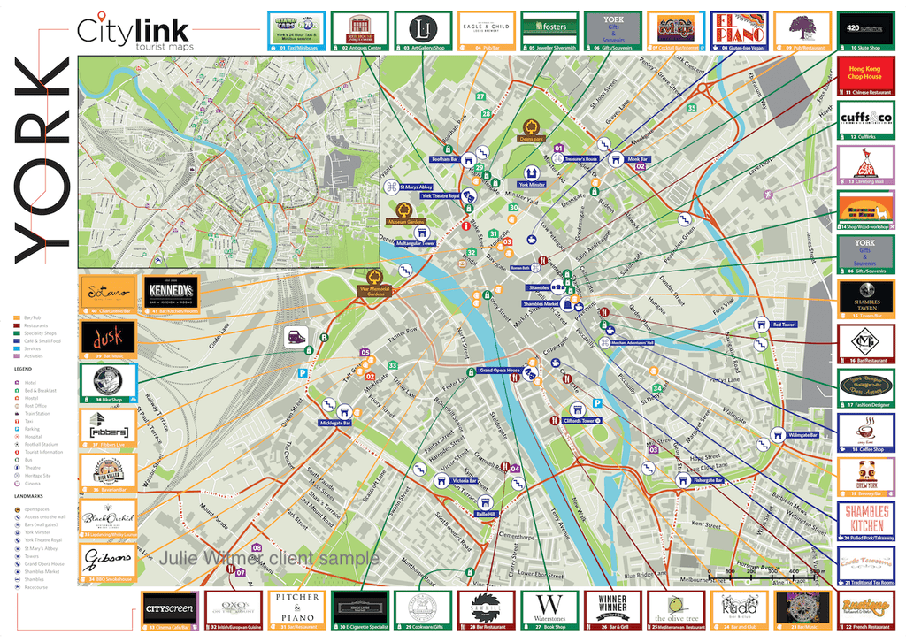 2016 tourist walking map of York in England