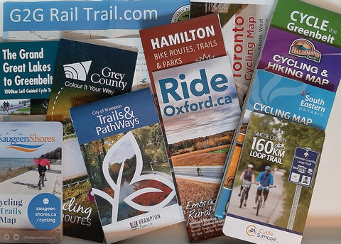 collection of bike maps from southern Ontario