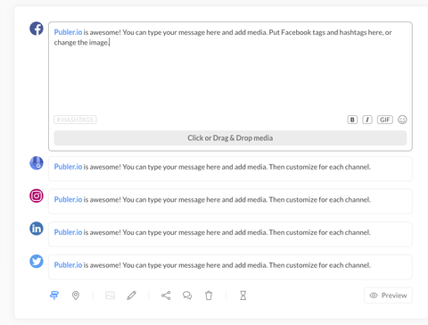 customize Publer post for each channel