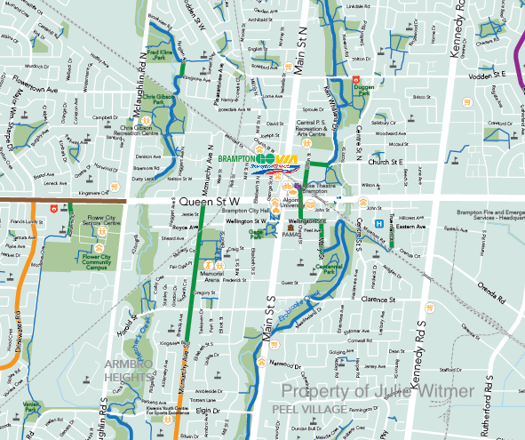 detail of downtown area Brampton cycling map draft