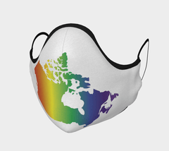 rainbow colours map of Canada on white face mask
