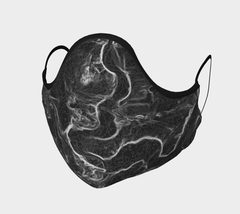 black face mask with contour map of Grand River in Kitchener