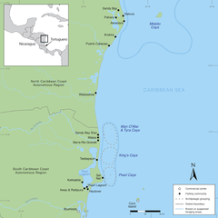 Nicaragua central Caribbean coast fishing areas