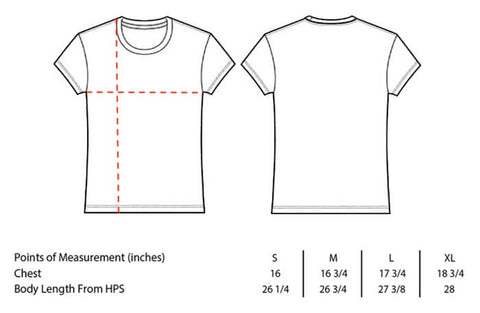 fitted tee size chart - Bella Canvas style 6004