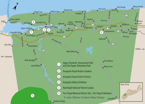 map of Annapolis County communities and attractions