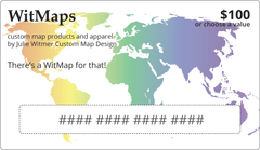WitMaps gift card image with rainbow map of world