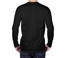 Load image into Gallery viewer, back of black long sleeve tshirt with male model