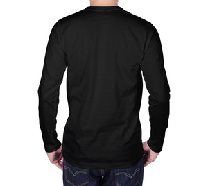 back of black long sleeve tshirt with male model