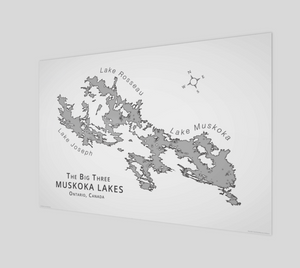 Muskoka's Big 3 Lakes in grey, glossy poster - 3:2 ratio