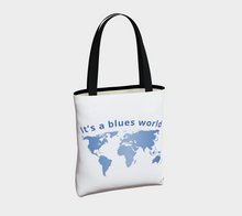 "Load image into Gallery viewer, ""It's a Blues World"" Tote Bag"
