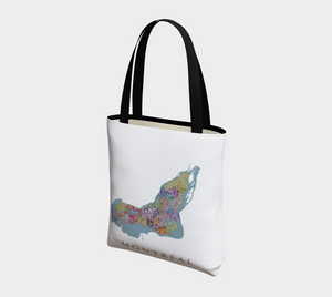 Tote Bag with Text Map of Montréal Neighbourhoods