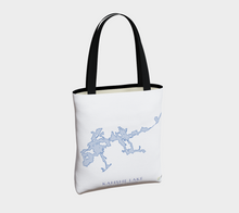 Load image into Gallery viewer, light blue Kahshe Lake map - back of tote bag