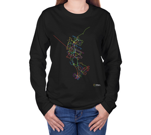 colourful map of Waterloo Region transit routes on black long sleeve tshirt with female model