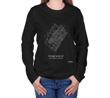 Load image into Gallery viewer, white streets of Oakville, Ontario, on black long sleeve tshirt with female model