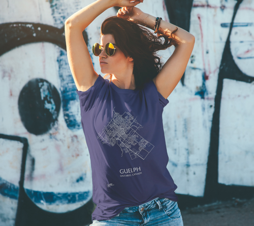 Unisex Tee with Map of Guelph Streets