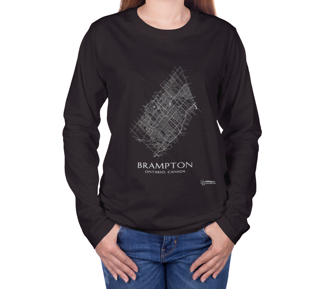 white streets of Brampton, Ontario, on charcoal long sleeve tshirt with female model