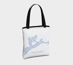 Tote Bag with Art Map of Lake of Bays, Muskoka