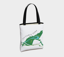 Load image into Gallery viewer, map of Victoria Park in Kitchener - back of tote bag
