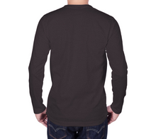 Load image into Gallery viewer, back of charcoal long sleeve tshirt with male model