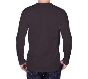 back of charcoal long sleeve tshirt with male model