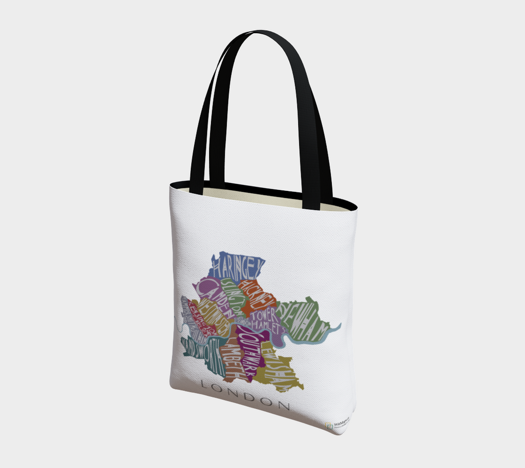 Tote Bag with Text Map of London Neighbourhoods