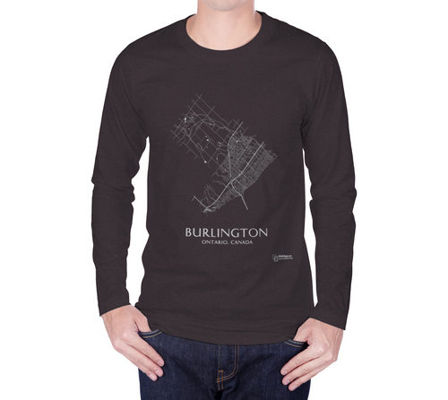 white streets of Burlington, Ontario, on charcoal long sleeve tshirt with male model