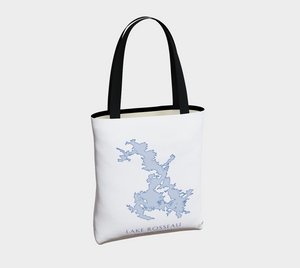 Tote Bag with Art Map of Lake Rosseau, Muskoka