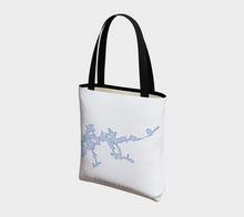 Load image into Gallery viewer, light blue Kahshe Lake map - front of tote bag