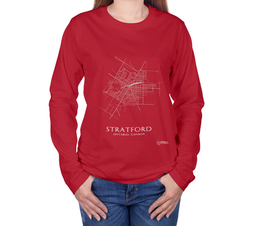 white streets of Stratford, Ontario, on canvas red long sleeve tshirt with female model