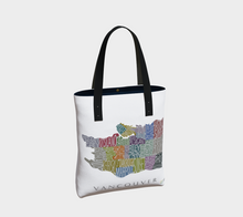 Load image into Gallery viewer, Tote Bag with Text Map of Vancouver Neighbourhoods
