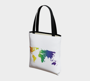 Tote Bag with Rainbow World Map